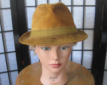 Vintage Mens Fedora Trilby by Knox Vagabond Deep Ochre Mustard Yellow Corduroy Hat 1960s 1970s with Feathers 21-1/2 Inches Wanderer