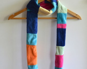 Multi-color Plush Scarf - Rainbow - OOAK - One of a kind
