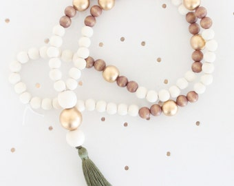 Tassel Necklace, Beaded Tassel Necklace, Statement Necklace, Olive Green, Gold, White, and Light Wood Bead Tassel Necklace, Tassel Jewelry