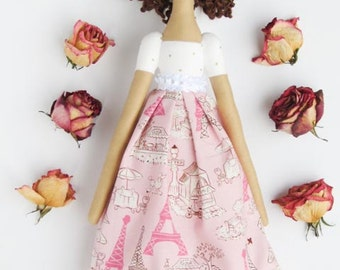 French doll fabric doll brunette cloth doll elegant Paris pink handmade doll toy rag doll - room decor doll gift for girls and mom