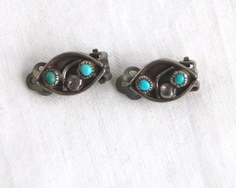 Turquoise Clip Earrings Sterling Silver Clips Vintage Southwestern Old Pawn Jewelry Non Pierced Ears
