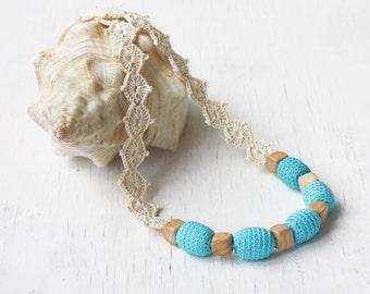 Blue white nursing necklace with lace ties Baby shower gift for mom to be New mother gift Kids friendly jewelry Summer fashion Boho chic