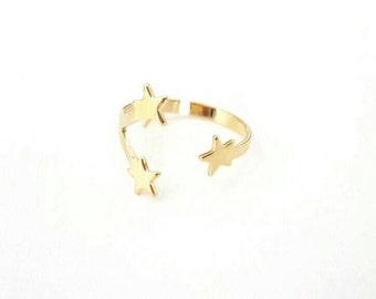 Gold Star Ring, Gold Adjustable Ring, Nickel Free, Gold Ring, Cuff Ring, 14K Gold ring, Sweet 16 Ring, Stars Ring