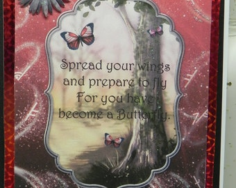 Red Butterfly Spread Your Wings any occasion card