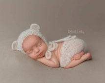 Bear Ears Hand Knitted Baby Alpaca Bonnet and Shorts Set Newborn Photo Prop in ANY Color. Made to order.
