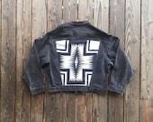Vintage Levis Black Denim Jacket with Black & White Pendleton Wool Back. Size Men's Large / Womens XL