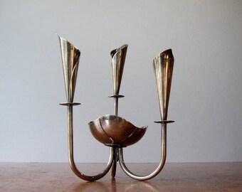 Mid Century Danish Modern Hans Jensen Silver Plated Lily Candelabra