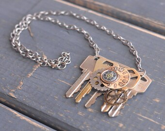 Steampunk Key Necklace Steampunk Key Jewelry Steampunk Gear Necklace Steampunk Clothing Steampunk Gear Jewelry Steampunk Art Necklace
