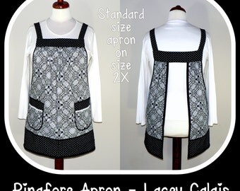 """Pinafore Apron, """"no tie apron"""" - Lacey Calais, loose-fitting smock apron, made-to-order XS to Plus Size"""
