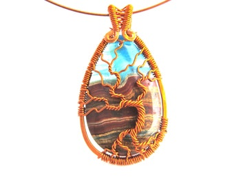 "Tree of Life Pendant - Stunning Brown and Blue Lace Chalcedony Stone Cabochon with Chestnut Brown Wire Tree of Life - 1.5"" x 2.5"""