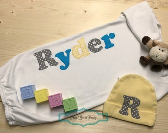Personalized Baby Gown, Gender Neutral Baby Gown, Newborn Gown, Monogrammed Baby Outfit, Going Home Outfit, Baby Shower Gift, Ryder