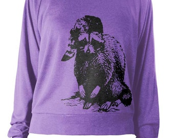 Womens Lightweight Pullover - Raccoon - Long Sleeve Sweatshirt - American Apparel Raglan