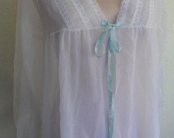 Vintage Sheer Robe Dressing Gown Sheer White Chiffon bridal