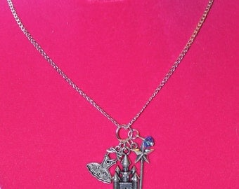 Glinda Inspired Good Witch Wand Castle Dress Blue Necklace Handmade