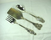 Vintage HOLIDAY SERVING SET 3pc Tarnish Silverplate Patina Spatula Fork Spoon