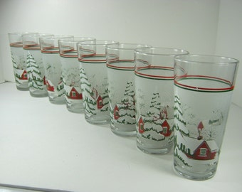 Vintage SNOW COTTAGE TUMBLERS Set/8 Holiday Glass Christmas Barware Water