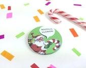 Badge Nadolig Llawen Welsh Text Merry Christmas Retro Bright Green Santa 58mm