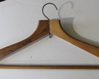 Wooden Clothes Hanger, Printed Advertisement, British Cunard Shipping Line, Vintage Closet Organizer, Closet Decor