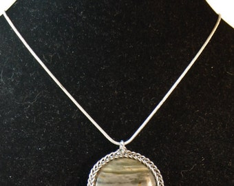 Striped Ohio Flint Round Pendant set in Chainmail