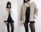 Reversible Fuzzy White Faux Fur / Khaki Light Brown Coat