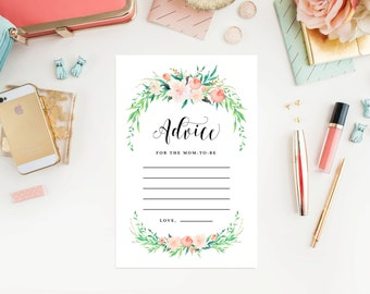 Instant Download - Delicate Bouquet Advice for the Mom-to-be Cards