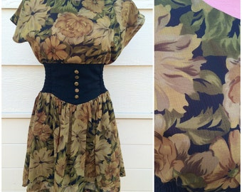 Olive green leaf pattern 80s thick waistband dress size M/L