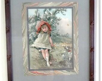 "Children's, Antique, Print- Lizzie Mack & Robert Mack,"" Queen of the May"" E. Nister Nuremberg,1880 Archival Frame"