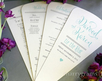 Wedding Program Fans 4 Blade Petal Programs w Satin Ribbon - Customizable Elegant Programs - Summer Wedding Custom Colors SS07 (Set of 50)