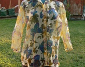 plus size YELLOW  butterfly sheer blouse  size 2x