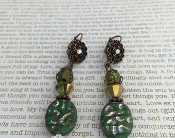 Green Steampunk Earrings - Limited Edition - Made With Czech Beads In Green And Copper Great For Steampunk and Victorian Lovers