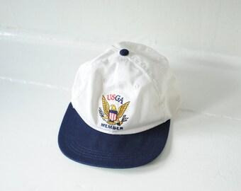 Vintage USGA Member White & Blue Cap, Made in USA / ITEM684