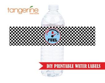 Race Car Water Bottle Labels - Race Car Birthday - DIY Printable - INSTANT DOWNLOAD