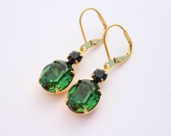 Dark Green earrings, Tourmaline earrings, Montana earrings, bridesmaid earrings,moss green earrings, Swarovski earrings, green and blue  TM1