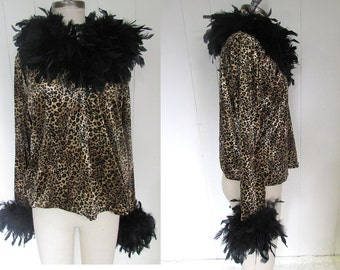 Leopard Stretchy Marabou Feather Boa Trim Fancy Dramatic Crazy Shirt