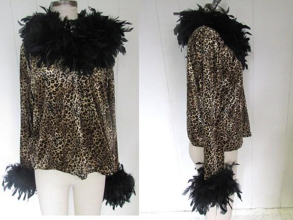 Leopard Stretchy Marabou Feather Boa Trim Fancy Dramatic Crazy Shirt