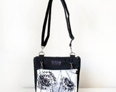 Cross Body Bag for Women with Pockets, Zips and Adjustable Strap in Black and White