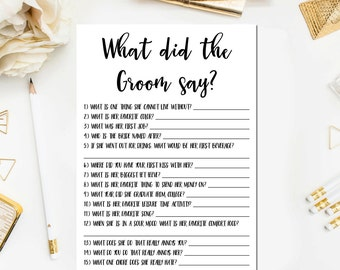 Black and White Bridal Shower What Did the Groom Say Bridal Shower Game, Guess What Groom Said Bridal Shower Game Instnt Download BR15