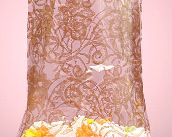 """Large """"GOLD LACE"""" Print Cello Treat Snack Goodie Bags Cellophane Baggies (Free Shipping!)"""