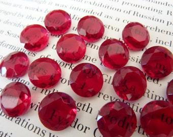 6 glass jewels, Ø11mm, rivoli, siam red, round