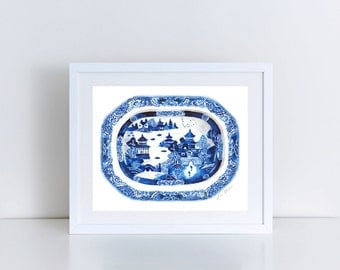 Blue and White Ginger Jar Tray 12 Giclee Print of Watercolor Decor Porcelain Chinoiserie Pagoda Asian Landscape Gift for Her under 25