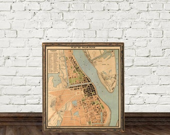 Pnom-Penh map (Cambodia) - Historic maps - Archival prints