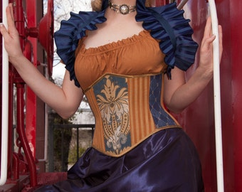 "Raven Wizarding House Inspired Steampunk Blue/Bronze Waspie Corset w/Solid Front -- Corset Size 30, Fits Waist 33""-35"" -- Ready to Ship"