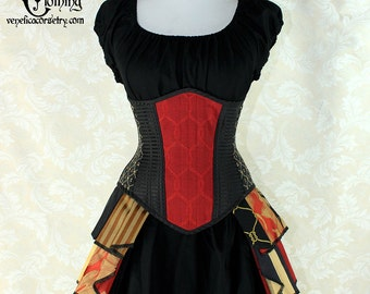 "Steampunk Black and Red Patchwork Steel Boned Waspie Corset w/Solid Front -- Corset Size 30, Fits Waist 33""-35"" -- Ready to Ship"