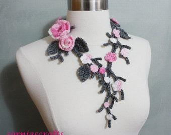 Unique Crochet Cherry Blossom Necklace, Cherry Blossom