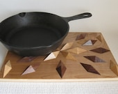 Kitchen Wood Hot Pad. Geometric wooden trivet or potholder.  Woodwork centerpiece