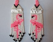 Native American Style Seed Beaded Flamingo Earring Pink and White Southwestern, Boho, Brick Stitch, Gypsy, Peyote Great Gift