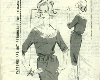 Fab Easy Vintage 1960s Spadea Designer 106A Victor Stiebel Slim Blouson Sheath Dress with Yoke Interest Sewing Pattern B34