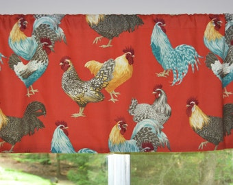 Kitchen Valance . P Kaufmann Free Range Twill Confetti Red. Chicken Valance . by Pretty Little Valances