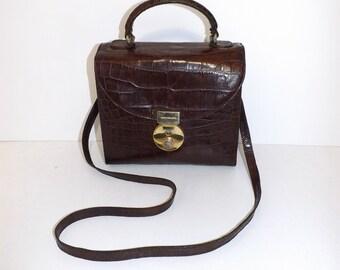 Vintage Russell and Bromley designer real brown leather satchel shoulder bag or smart grab handbag mock crocodile pattern