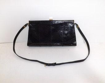Vintage real black snakeskin and leather shoulder handbag bag by Jane Shilton